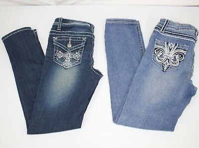 SEVEN 7 GIRLS JEANS LOT OF TWO PAIRS Seven Authentic Adjustable Waist Size 10