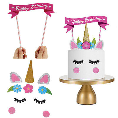 1Set Cute Unicorn Kids Favor Happy Birthday Party Cake Topper Banner Decor