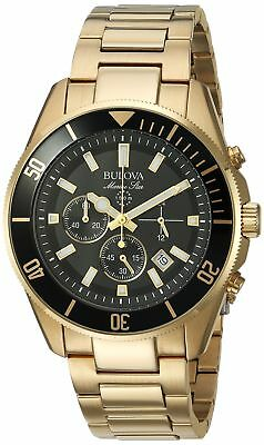 Bulova Men's 43mm Marine Star Black Dial Goldtone Chronograph Watch Two Tone