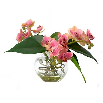 Artificial Pink Purple Yellow Orchid Flower Arrangement Vase Centrepiece Plant