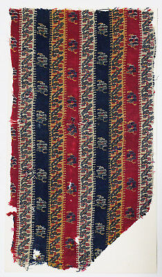18C India Textile Fragment - Kashmir Brocade, Embroidery, Stripes, Flower 2