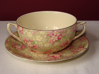 Crown Ducal Pink Blossom Chintz Twin Handle Cup and Saucer