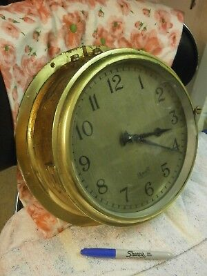 MERCER SLAVE Ships Wall Clock Crows Foot M.O.D. movement bulkhead brass case