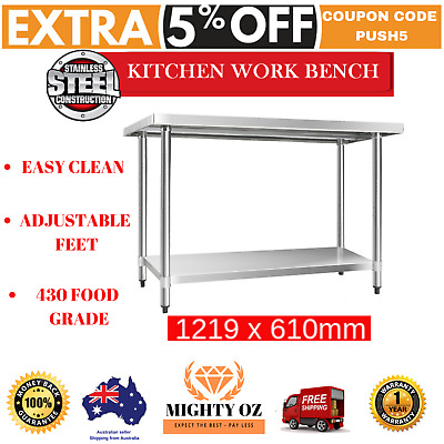 Commercial Stainless Steel Kitchen Work Bench 304 Cefito 1219x610mm Prep Table