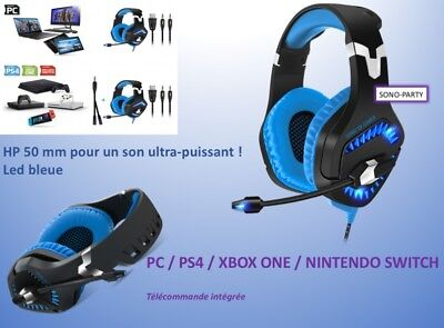 Casque Pc Ps4 Switch Xbox One  Spirit Of Gamer Led Bleue Micro Multimédia Gaming