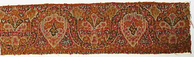 18C India Textile Fragment - Kashmir Brocade, Part of Shawl Border, Embroidery