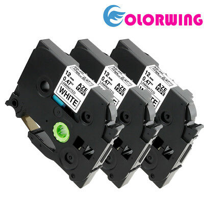 3 Pk Compatible Label Maker Tape 12mm for Brother P-Touch TZ-231 TZe-231 PT-D21