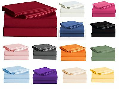 1000 TC SOFT Luxury Flat &Fitted Sheet Set Double/Queen/King Size Bed 4 Pieces