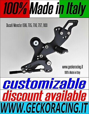 Adjustable Rearsets Ducati Monster 696 796 1100 | GeckoRacing 100% Made in Italy