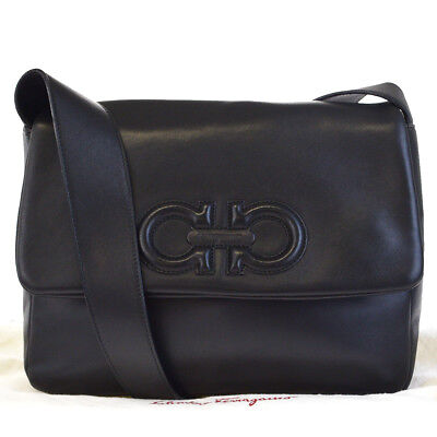 1774d2420df Authentic Salvatore Ferragamo Gancini Shoulder Bag Leather Black Italy  68EF612