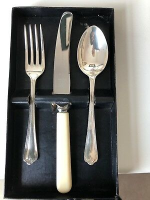 Vintage Quality English S & B EPNS A1 Christening Knife Fork & Spoon Set Boxed