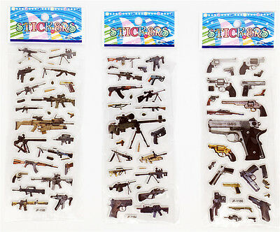 "Sticker Lot Wholesale 3D Cartoon Small Pvc Stickers Lot""Firearms""Children Gift"