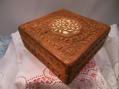 """Vtg. Hand Carved Wooden Jewelry Box Or Trinket Box  2 1/4"""" X 6"""" X 6"""""""
