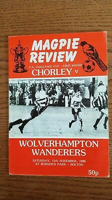 Chorley v Wolverhampton Wanderers - FA Cup 1st Round Programme - 15/11/86