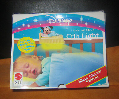 Rare Disney Baby Mickey Mouse Crib Light With Silent Dimmer Switch By Mattel