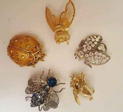 Vintage Rhinestone Crystal Filigree Insect Fly Beetle Brooch Pin Lot of 5 Monet
