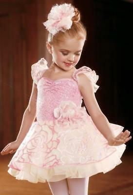Dance Costume XS Child Pink Ivory Ballet Lyrical Solo Competition Pageant