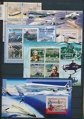 AB7-2295 World aviation aircraft airplanes fine lot of sheets MNH