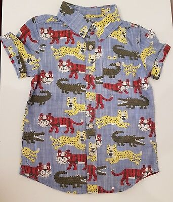 Marks and Spencer 18-24 Month Boys blue shirt with big cats and crocodiles