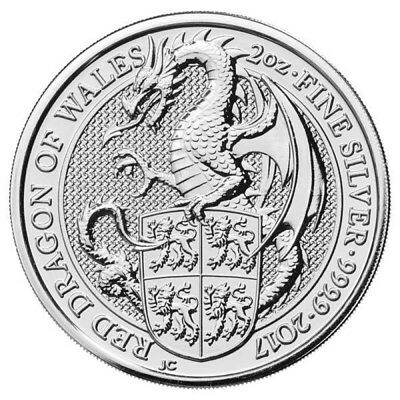 2017 U.K. £5 Silver Queen's Beasts Red Dragon of Wales 2oz .9999