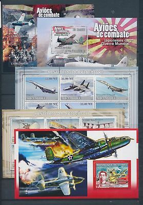 AB7-2308 World aviation aircraft airplanes fine lot of sheets MNH