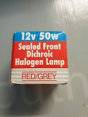 Red/ grey Hallogen lamp 12v  50w dichroic sealed front.