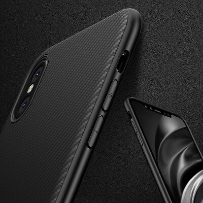 """For iPhone XS 5.8"""" XS Max 6.5"""" Soft TPU Slim Carbon Fiber Protector Case Cover"""