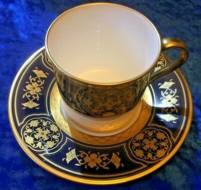 NORITAKE Cup & Saucer number 9788. Painted in Blue, Gold & White. Great Conditio