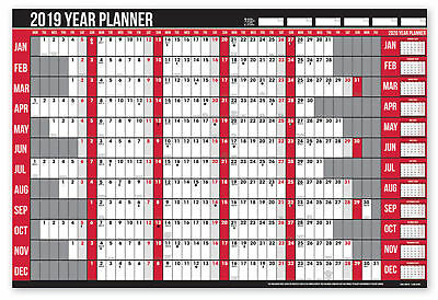 2019 Year Wall Planner Holiday Planner Including Pen and Stickers Office or Home
