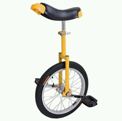 """16"""" Yellow Unicycle Cycling Scooter Circus Bike Skidproof Tire Balance Exercise"""