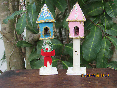 2~Vintage PUTZ~Christmas Lamp POST W/Miniature TINSEL TREES Inside Of Lamp~RARE!