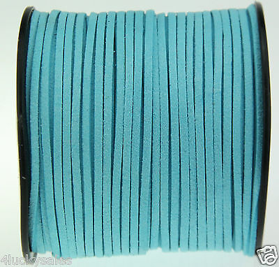 10yd 3mm light blue Suede Leather String Jewelry Making Thread Cords hot
