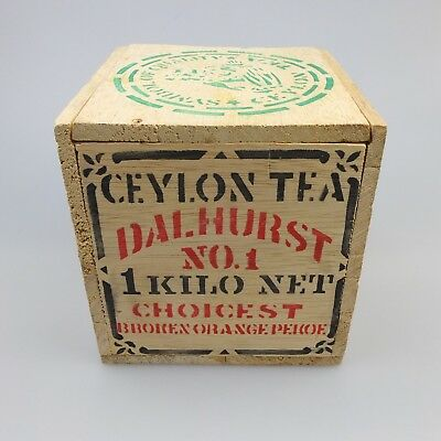 Vintage Dalhurst Ceylon Tea Orange Pekoe 1kg Wooden Tea Chest Caddy Advertising