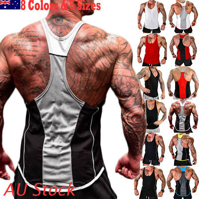 Men Gym Singlet Tank Top Tee Stringer Bodybuilding Y-Back Muscle Fitness Vest