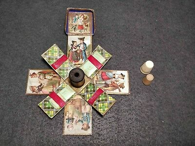 Very Rare Antique Victorian Card Sewing Kit W/ 2 Sharps Packages Top Object