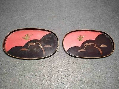Rare Antique Japanese Pair Small Wood Lacquer Dish W/ Birds