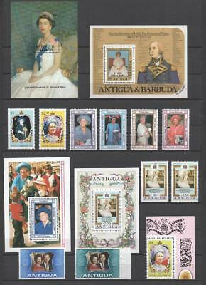 Antigua Qe2 Mnh Royalty Collection On 5 Pages