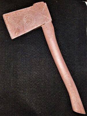 Catlinite Ax, Axe, Hatchet, Carved, Engraved, Pipestone, 6 1/2""
