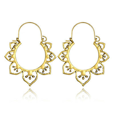 Women Vintage Bohemian Boho Charm Alloy Hollow Heart Punk Dangle Earrings #2