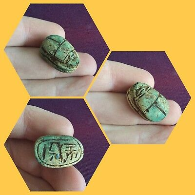 Rare ancient Egyptian scarab beetle with hieroglyphics, 300 bc
