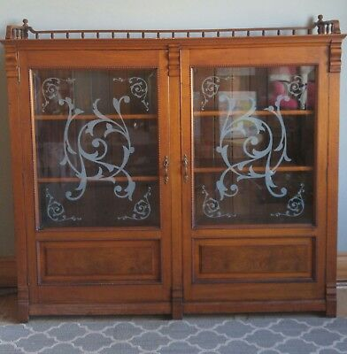 Antique Walnut Bookcase Thick Beveled Etched Glass Barrister Display Cabinet 2Dr