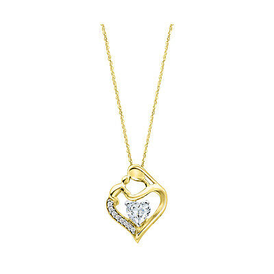 14K Yellow Gold 925 Sterling Silver Round Diamond Mom & Baby Pendant Necklace