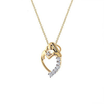 "Mom & Baby 14K Yellow Gold Over 925 Sterling Silver Diamond Pendant W/18"" Chain"
