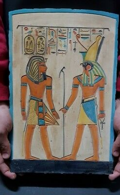 ANCIENT EGYPTIAN ANTIQUES Ramses With HORUS Stela Relif Ramses Tomb Stone BC