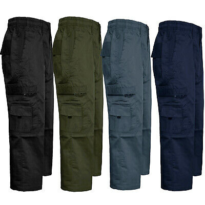 Mens Chinos Cargo Combat Trousers Elasticated Pants Summer Work Bottoms M - 3Xl