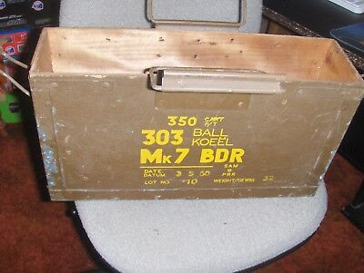 WWII BRITISH 303 BALL KOEEL AMMO Ammunition Wooden BOX Mk 7 CTN Empty