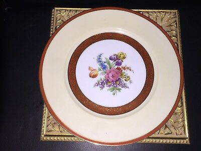 Vintage Noritake M Hand Painted Gold Orange Rust Floral Dinner 11 Plate Euc