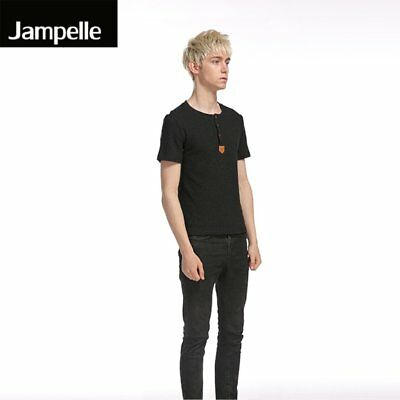 Jampelle B42 Summer Men Collar Simple Single Breasted Leather Label T-shirt