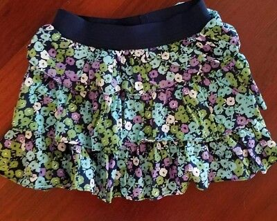 Gap Girls Skirt Cotton Tiered Ruffle Blue Floral Lined Elastic Size L 10-12