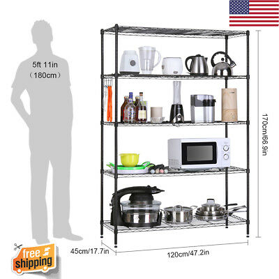 5-Tier Wire Shelving Unit Heavy Duty Extra Large Corner Unit Storage Shelf Home